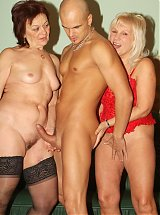 Horny older babes Remy and Paula take turns in fucking a younger guy and slurp off his man juice