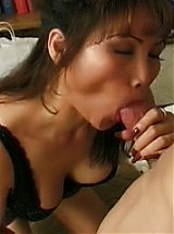 Asian grandma Rosy Rocket got herself a playmate and goes down to give him a blowjob and titty fuck