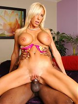 Misty Vonage hooks up with a younger black guy and invites him over for interracial sex